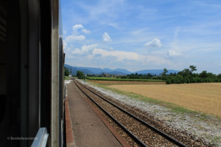 The smell of a dying out cigarette bud, diesel and rail lubricant..a touch of Italy on a burning hot June afternoon..; Lombardy, Italy